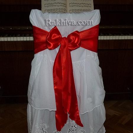 Сатенена панделка за столове, 18 см/ 2,75 м (червено) (18/275/2180)