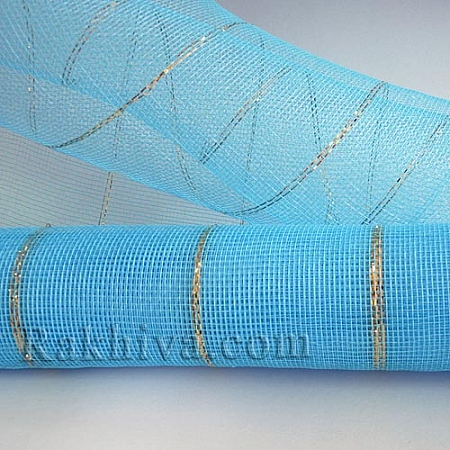 Мрежа за цветя - златни нишки, 9 ярда (св.синьо) (43/51)
