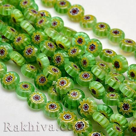 Стъклени мънистата тип Лампуърк, зелено (LK-P011-17)