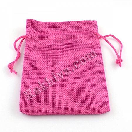 Ленени торбички за подаръци циклама, 10 см/14 см, (10/14/8345)