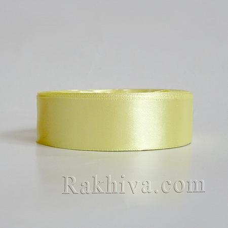 Панделка сатен - млечно жълто, 1 ролка 25 мм/ 25 ярда (25/25/2370-1)