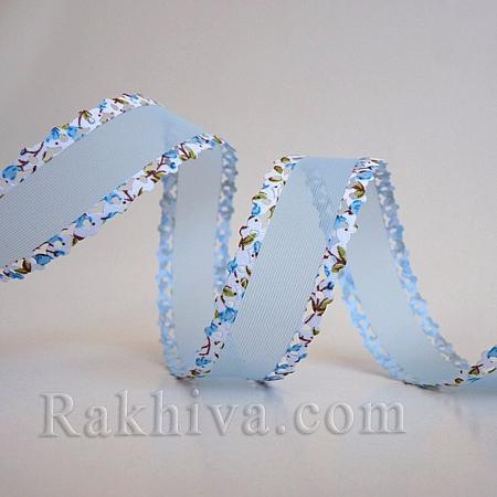 Панделка Дантела, Цветя, 25мм/10ярда, синьо (25/10/39-1/51/ORIB-R028-16C)