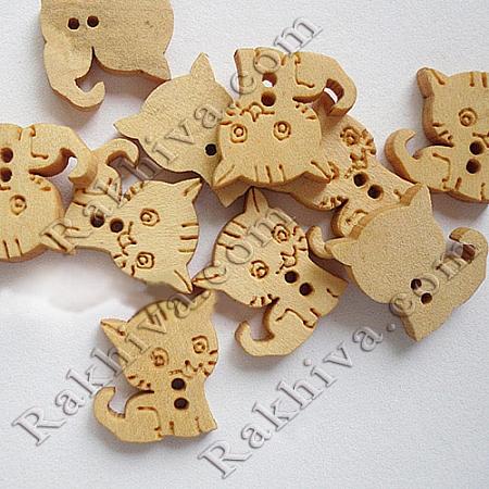 Дървени фигурки (копченца) за бижута, за декорация, за украса - котенце, дървени копченца (NNA0Z61)