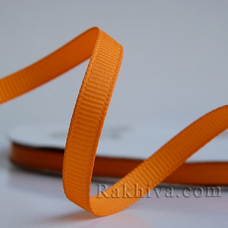 Панделка сатен - релефен сатен, 6 мм/ 25 ярда (св. оранжево ) (6/25/12376)
