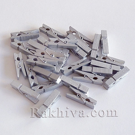 Дървени щипки, сребро, дървени щипки сребро 35/7мм (10бр.) WOOD-R249-04