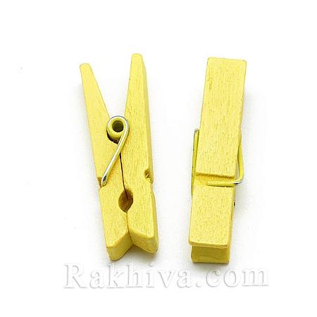 Дървени щипки, жълто, дървени щипки жълто 35/7мм (10бр.) WOOD-R249-013G