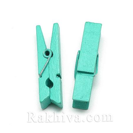 Дървени щипки, пастелно зелено