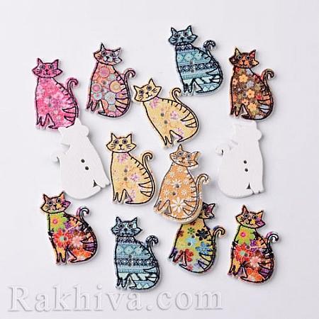 Дървени копчета Котенца Микс цветове, копчета Котенца, 5 бр. (BUTT-M014-23)