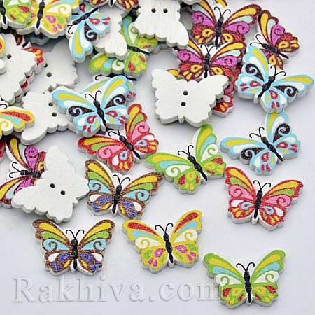 Дървени копчета Пеперуди Микс 2, копчета Пеперуди Микс 2, 5 бр. (BUTT-P011-30)