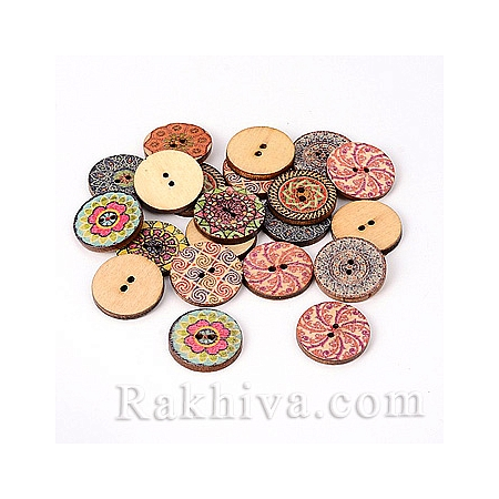 Дървени копченца Мандала 2 (микс), копченца Мандала 2 Микс, 5 бр. (BUTT-M011-11)