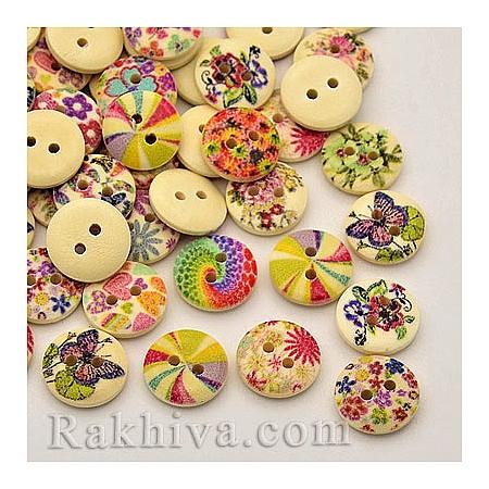 Дървени копченца Цветя лято 3 (микс), копченца Цветя лято 3, 10 бр. (BUTT-P010-70)