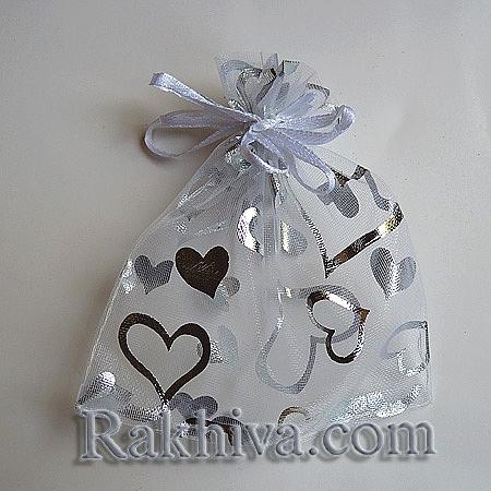 Торбички от органза бяло със сребърни сърца, 10 см/ 12 см, (10/12/8210-1)
