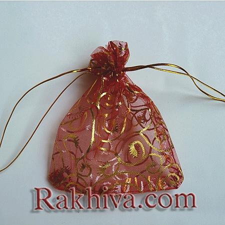 Торбички от органза червено със златни фигурки, 10 см/ 12 см, (10/12/8280-1)