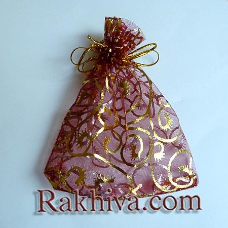 Торбички от органза бордо със златни фигурки, 10 см/ 12 см, (10/12/8286-1)