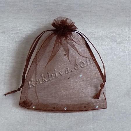 Торбички от органза кафяво с брокат, 10 см/12 см, (10/12/8234)