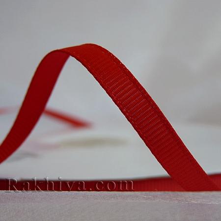 Панделка сатен - релефен сатен, 6 мм/ 25 ярда (червено) (6/25/12380)