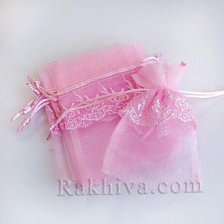 Торбички от органза с дантела розово, 13.6 см / 9.2cm, (13.6/9.2/8240)