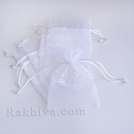 Торбички от органза с дантела бяло, 13.6см / 9.2 см, (13.6/9.2/8210)