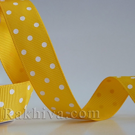 Панделка сатен - релефен сатен с точки (патешко жълто, бяло), 10 мм/ 10 м (патешко жълто, бяло) (10/10/207/650)