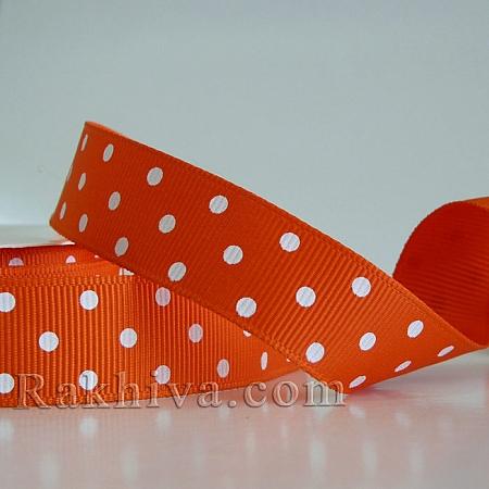 Панделка сатен - релефен сатен с точки (оранжево, бяло), 10 мм/ 10 м (оранжево, бяло) (10/10/207/750)