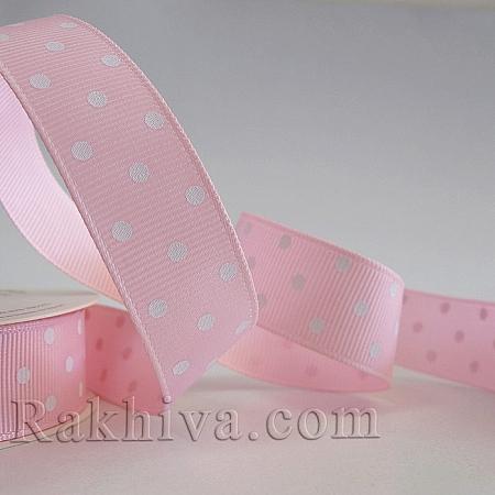 Панделка сатен - релефен сатен с точки (розово, бяло), 10 мм / 22.80 м (розово,бяло) (10/25/204/123)