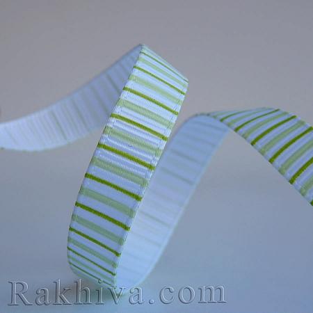 Релефен сатен Елеганс (Райе), 10 мм/ 9 м (зелено, резеда) (10/9/524/550)