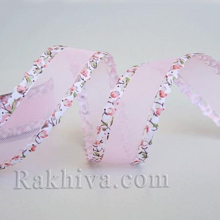 Панделка Дантела, Цветя, 25мм/10ярда, розово (25/10/39-1/40/ORIB-R028-16C)