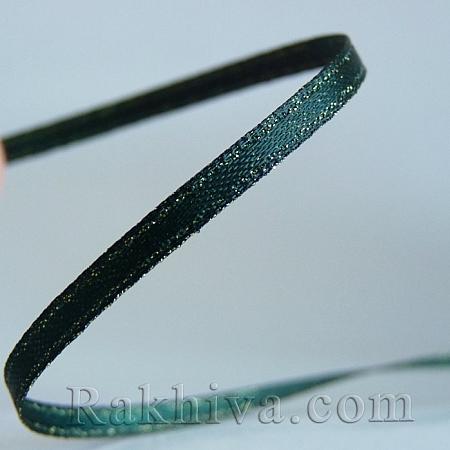 Сатен със злато - тъмно зелено, 9 мм/9 м (9/9/593)