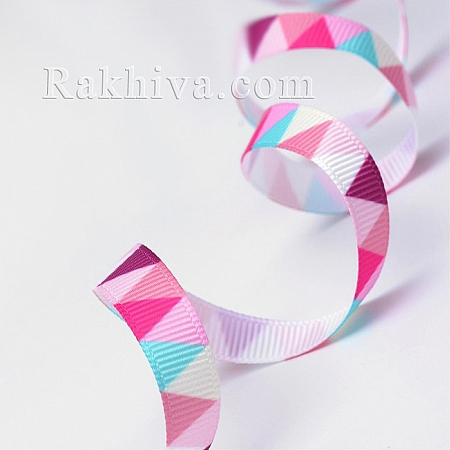 Релефен сатен, 10 мм/ 9 м (розово триъгълник релефен сатен) (10/10/014-40)