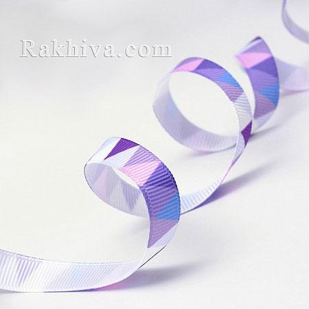 Релефен сатен, 10 мм/ 9 м (лилаво триъгълник релефен сатен) (10/10/014-90)