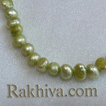 Естествени перли (култивирани) - цвят ябълка,  клас Б, 1 наниз (A02SB0W1)