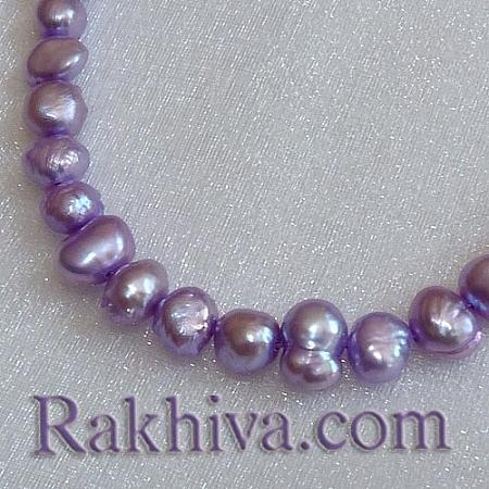 Естествени перли (култивирани) - цвят лилаво,  клас Б, 1 наниз (A02SB1D1)