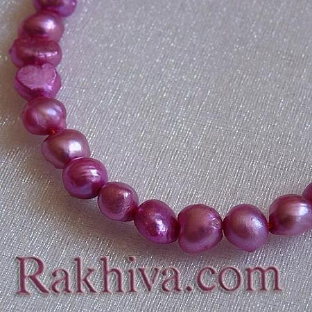 Естествени перли (култивирани) - цвят циклама,  клас Б, 1 наниз (A02SB0P1)