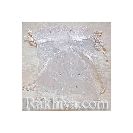 Торбички от органза бяло с брокат, 18 см / 25 см, (18/25/8210)
