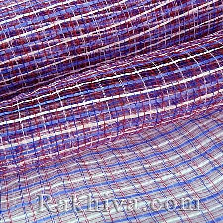 Двуцветна мрежа за цветя Фантазия (Корея), синьо, червено, бяло (8 ярда) (44/518)