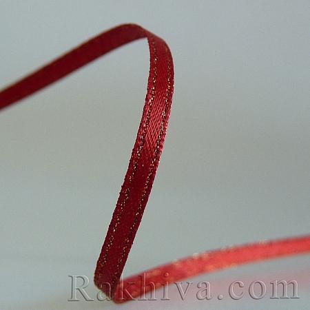 Сатен със злато - червено, 9 мм/4.5 м (9/5/250)