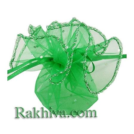 Торбички от органза - кръг зелено, 26 см, (26/8265)