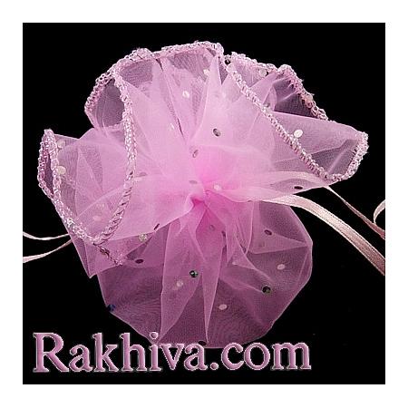 Торбички от органза - кръг, розово, ср. брокат (26/8240)