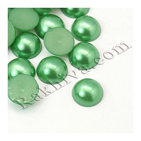 Перли полусфери за залепяне, за декорация, за украса - цвят зелено, 5мм/2,5мм/500 бр. (OACR-H001-4I)