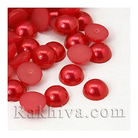 Перли полусфери за залепяне, за декорация, за украса, 4мм/2 /1000 бр., червено (OACR-C004-4x2mm-13)