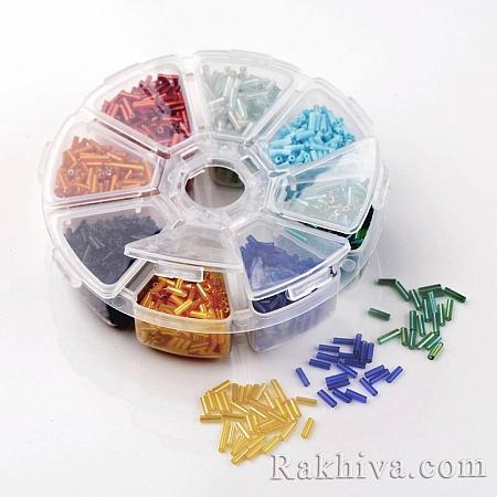Мъниста тръбички - стъклени, 1 кутия (SEED-X0048-B)