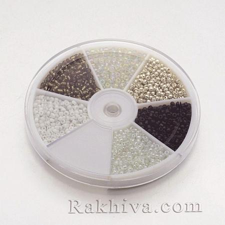 Мъниста - стъклени, 1 кутия, черно, бяло (SEED-X0038-04)