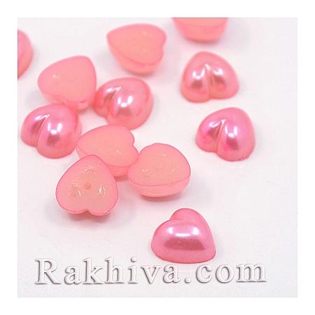 Перли полусфери за залепяне, Сърце - цвят перлено розово, 10.5мм/10.5мм/50 бр. (MACR-F022-18)