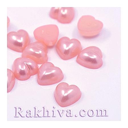 Перли полусфери за залепяне, Сърце - цвят розово, 10.5мм/10.5мм/50 бр. (MACR-F022-17)
