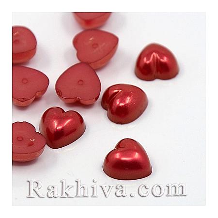 Перли полусфери за залепяне, Сърце - цвят червено, 10.5мм/10.5мм/50 бр. (MACR-F022-15)