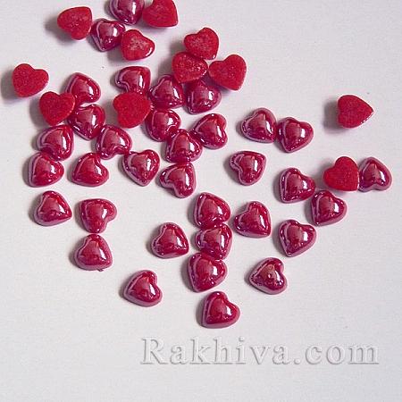 Перли полусфери за залепяне, Сърце - цвят св. червено, 6мм/6мм/40 бр. (GGLA-J003-6x6mm-38)