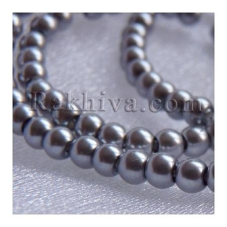 Перли (изкуствени) за изработка на бижута, за декорация, за украса - сиво, 4mm/ 216бр. (1 наниз HY4mm97)