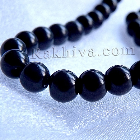 Перли (изкуствени) за изработка на бижута, за декорация - черно, 8mm/ 110бр. (1 наниз HY-8D-B20)