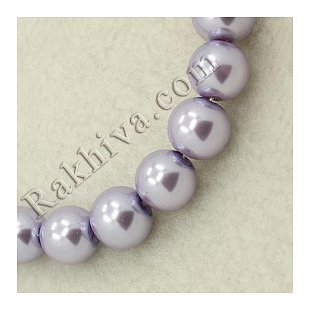 Перли (изкуствени) за изработка на бижута, за декорация, за украса - люляково, 4mm/ 216бр. (1 наниз HY-4D-B25)