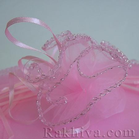 Торбички от органза - кръг розово, 26 см, (26/8440)
